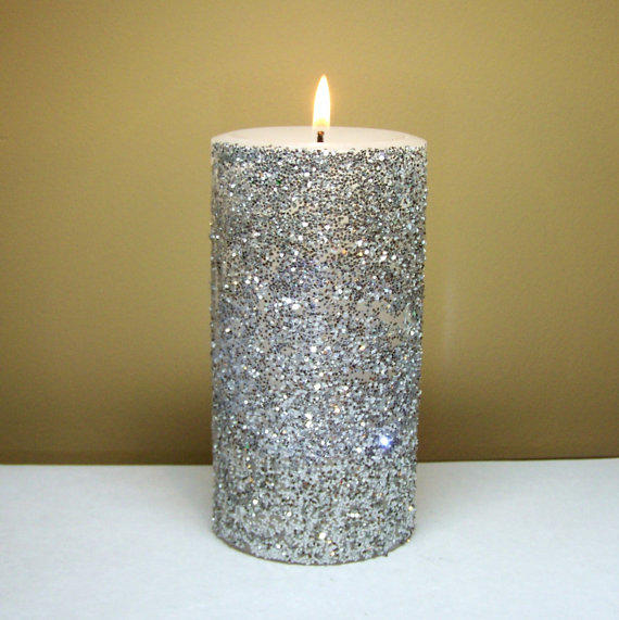 Silver Glitter Pillar Candle Decorative from