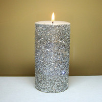 Silver Glitter Pillar Candle, Decorative Unscented Candle, Glitter Wedding Decor