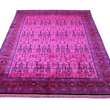 6x9 Hot Pink Overdyed Chinese Deco Rug 2808