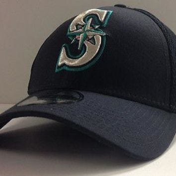 Seattle Mariners New Era 39THIRTY Mega Neo Stretch Fit Flex Mesh Back Cap Hat