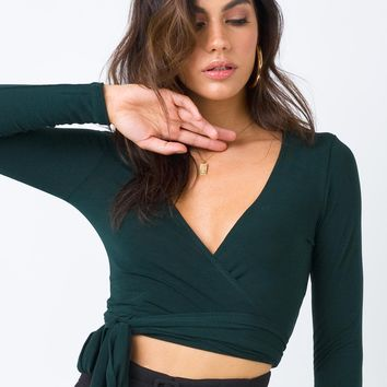 Live Your Life Tie Front Top Forest Green | Princess Polly