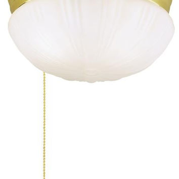 Two-Light Indoor Flush-Mount Ceiling Fixture, with Pull Chain Polished Brass Finish with Frosted Fluted Glass