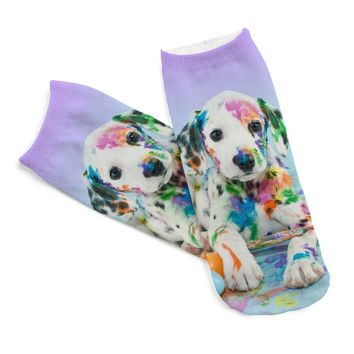2017 New Popular 1Pair 3D Bulldog Pug Dog Printing Women Socks Cotton Polyester Casual Sock Unisex Low Ankle Sock Free Shipping