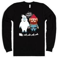 Ugly Christmas Best Friends Long Sleeve Tee-Unisex Black T-Shirt