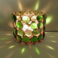 Stained Glass Candle Holders Green  Pair Home Decor