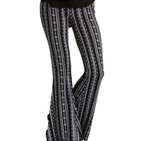Black/White Boho Print Knit Flare Pants by Charlotte Russe