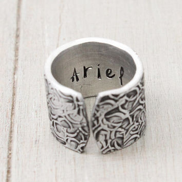 Name Ring, Cuff Ring, Hand Stamped Ring, Textured Ring, Wood Textured Ring,Modern Ring, Handstamped Jewelry, Personal Gift Idea