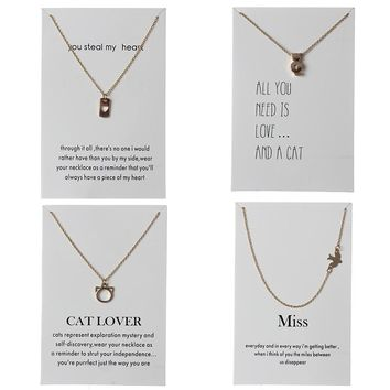 1pc Minimalist Cat Bird Heart Charms Lover Wish Card Choker Necklaces Links Chains Gold Plate For Women Statement Jewelry Gift