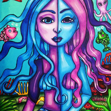 "blue & purple mermaid original painting acrylic on canvas 10"" x 14"" fantasy sealife nautical wall art ""Friends Are The True Treasures"""