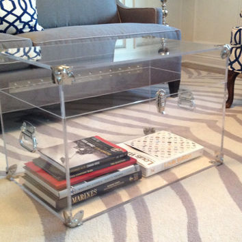 "Clear Lucite Trunk - 28""Long x 18"" x 18"" in 1/2"" clear, polished Lucite & Silver accents - Fully customizable"
