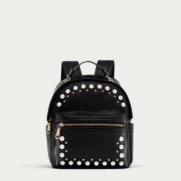 MEDIUM BACKPACK WITH FAUX PEARL STUDS DETAILS