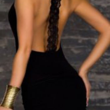 Black Lace Backless Bodycon Mini Dress