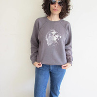 Vintage 70s Distressed Faded Blue Soft Gray Hawk Falcon Sweatshirt