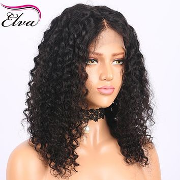 Elva Hair 360 Lace Frontal Wigs With Baby Hair 180% Density Curly Short Human Hair Wigs Brazilian Remy Hair Pre Plucked Hairline