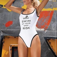 Letters Print Sport One Piece Swimsuit Swimwear