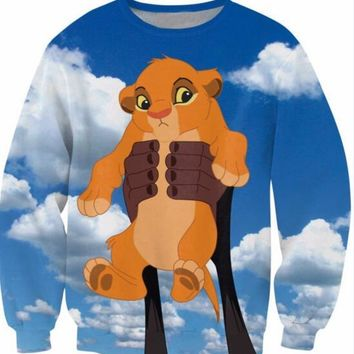 Alisister Baby Simba Crewneck Sweatshirt The Lion King Character Cartoon Fashion Clothing Casual Jumper Women Men 3d hoodies