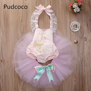 Pink Baby Girl Clothes Set Gold Horse Stars Lace Flower Romper+Bow Tutu Skirt Outfits