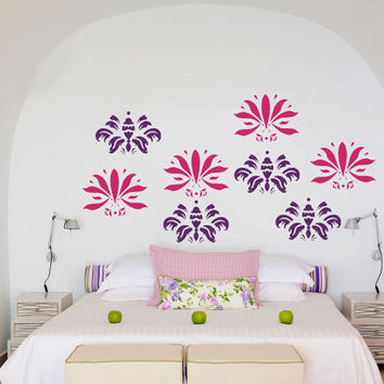 Wall Art - 8 Abstract floral flock vinyl wall decal / sticker / mural removable wallpaper