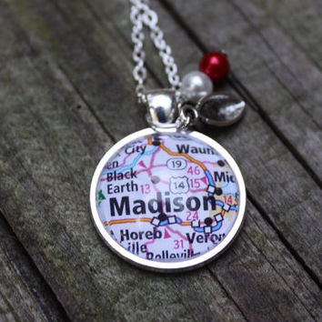 University of Wisconsin Badgers necklace, map of Madison, WI in a glass pendant, football charm, crimson and white pearls. Wi Badgers jewelr