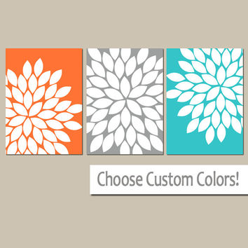 Orange Gray Turquoise, Bedroom Wall Art, Canvas or Prints Bathroom Artwork, Bedroom Pictures, Flower Wall Art, Flower Burst Dahlia Set of 3