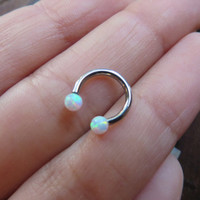 White Opal 16g Hoop Piercing Horse Shoe Horseshoe Bar Barbell Surgical Steel 16 G Gauge