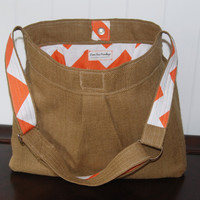 BURLAP and Orange CHEVRON Girl or Boy Diaper Bag