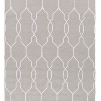 Lattice Gray Indoor Outdoor Dhurrie Rug