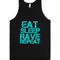 eat sleep rave repeat-Unisex Black Tank