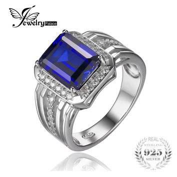 Jewelrypalace Luxury 4.6ct Created Blue Sapphire Wedding and Engagement Ring For Men Genuine 925 Sterling Sliver 2016 New