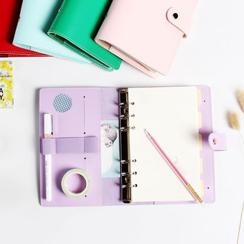 New macaron leather 6 holes spiral notebooks stationery,cute personal ring binder diary weekly planner/agenda organizer A6