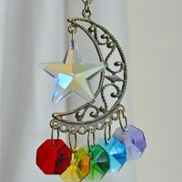 Rear View Mirror Hanging Crystal Star Moon Car Charm Rainbow Chakra Suncatcher Amulet Swarovski