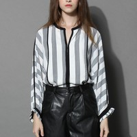 Contrast Stripes Crepe Top in White