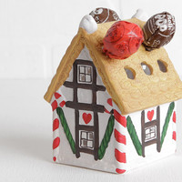 Vintage Christmas Ceramic Gingerbread House Candy Cane Holder, House of Lloyd 1992 with Original Box