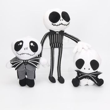 3Styles 15-35cm The Nightmare Before Christmas jac kSkellington Plush Toy Soft Stuffed Dolls keychain pendant Gifts For Kids
