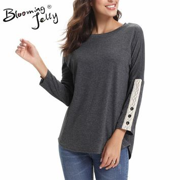 Blooming Jelly Soft Causal Female Buttons Tops O-Neck Long Sleeve Top Crochet Patchwork Basic T-shirt 2018 New Autumn 5 Colors