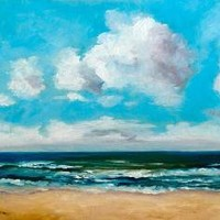 Original oil seascape beach 11x9 by IsabelFerreira