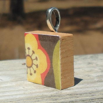 Big Yellow Flower Two Scrabble Style Pendant
