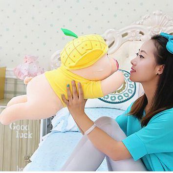 cute plush yellow  pig toy cuddly toy stuff lying pineapple pig doll valentine's day gift about 50cm