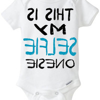 "Funny Onesuit baby boy gift idea: ""This is my SELFIE Onesuit"" new baby / new parent / baby shower gift / Black & Blue / Preemie Available"