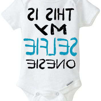 """Funny Onesuit baby boy gift idea: """"This is my SELFIE Onesuit"""" new baby / new parent / baby shower gift / Black & Blue / Preemie Available"""