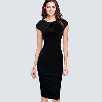 Casual Summer Cap Sleeve Pencil Dress Women Elegant Wear To Work Office Business Sheath Bodycon Black Dress HB310