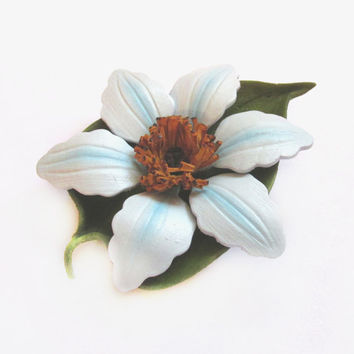 Tooled Leather Brooch, Handmade Blue Flower Pin