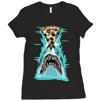 pizza shark graphic Ladies Fitted T-Shirt