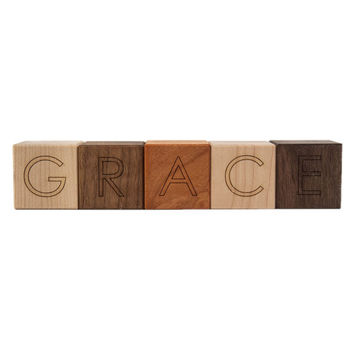 5 personalized wooden blocks, alphabet letter baby toys modern wood name blocks
