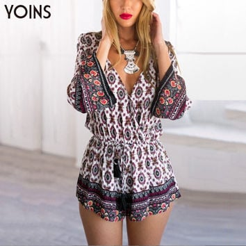 YOINS New 2016 Sexy Women Plunge V-neck Drawstring Waist Romper Overalls Fashion Tassel Bohemian Printed Long Sleeve Playsuit