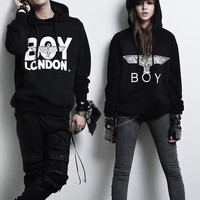 Boy London Fashion Solid Long Sleeve Scoop Neck Top Sweater Pullover Hoodie