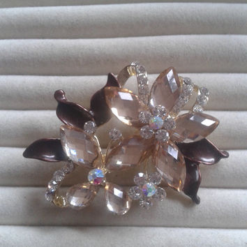 brown and creme crystal flower rhinestone goldtone  brooch  pin