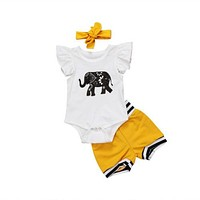 3 Piece Floral Elephant Print Onesuit + Headband + Shorts Set