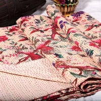 Indian Designer Kantha Quilt, Queen Size Kantha Throw, Bird & Floral Printed, Indian Reversible Kantha Quilt, Handmade Bedspread Throw