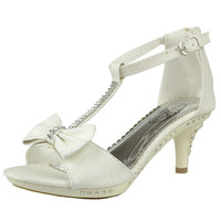Kids Dress Sandals T-Strap Bow Accent Glitter High Heels White SZ